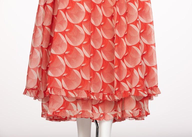 Chloe Karl Lagerfeld Red White Printed Silk Dress Runway 1982 For Sale 6