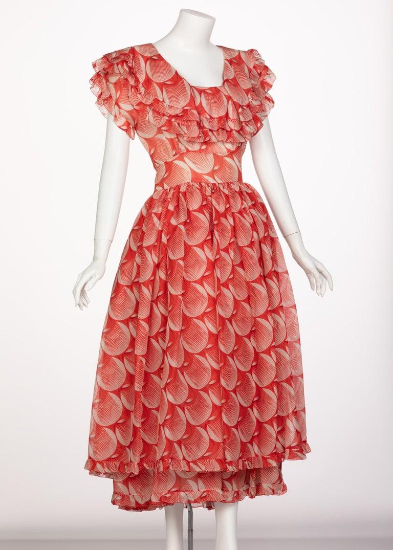 Orange Chloe Karl Lagerfeld Red White Printed Silk Dress Runway 1982 For Sale