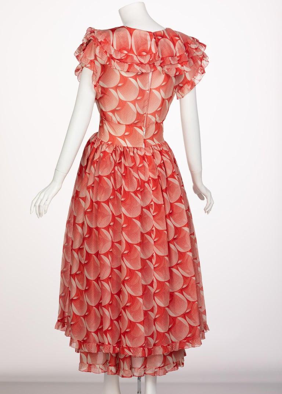 Women's Chloe Karl Lagerfeld Red White Printed Silk Dress Runway 1982 For Sale