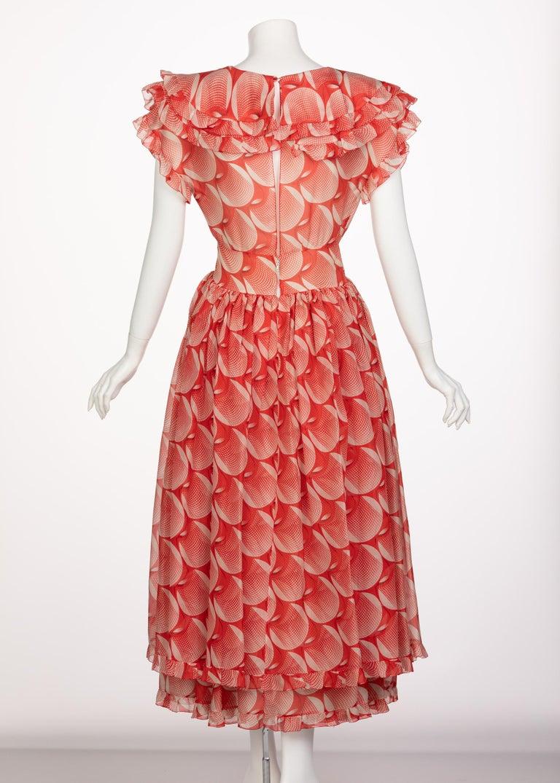Chloe Karl Lagerfeld Red White Printed Silk Dress Runway 1982 For Sale 1