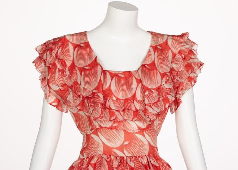 Chloe Karl Lagerfeld Red White Printed Silk Dress Runway 1982 For Sale 2