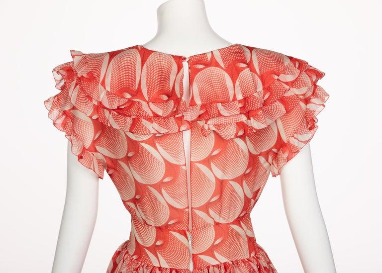 Chloe Karl Lagerfeld Red White Printed Silk Dress Runway 1982 For Sale 3