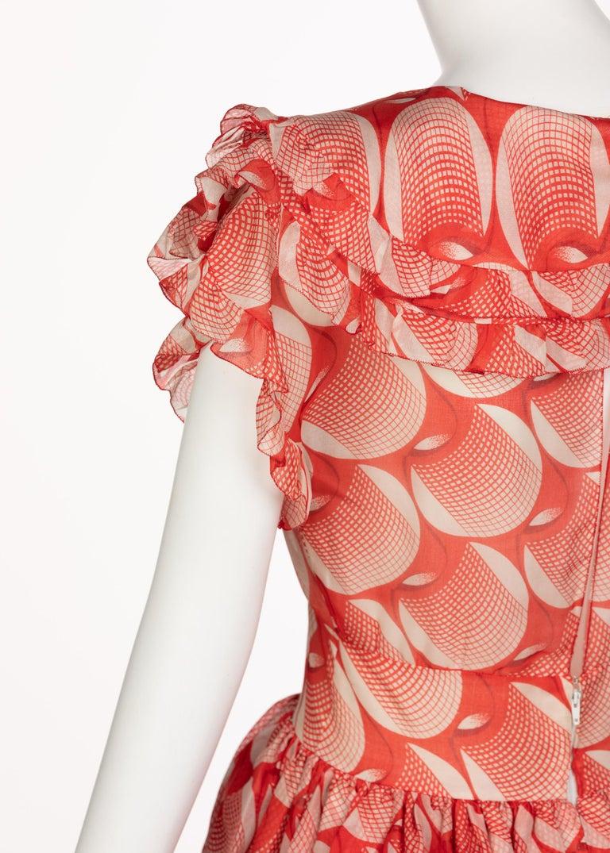 Chloe Karl Lagerfeld Red White Printed Silk Dress Runway 1982 For Sale 4