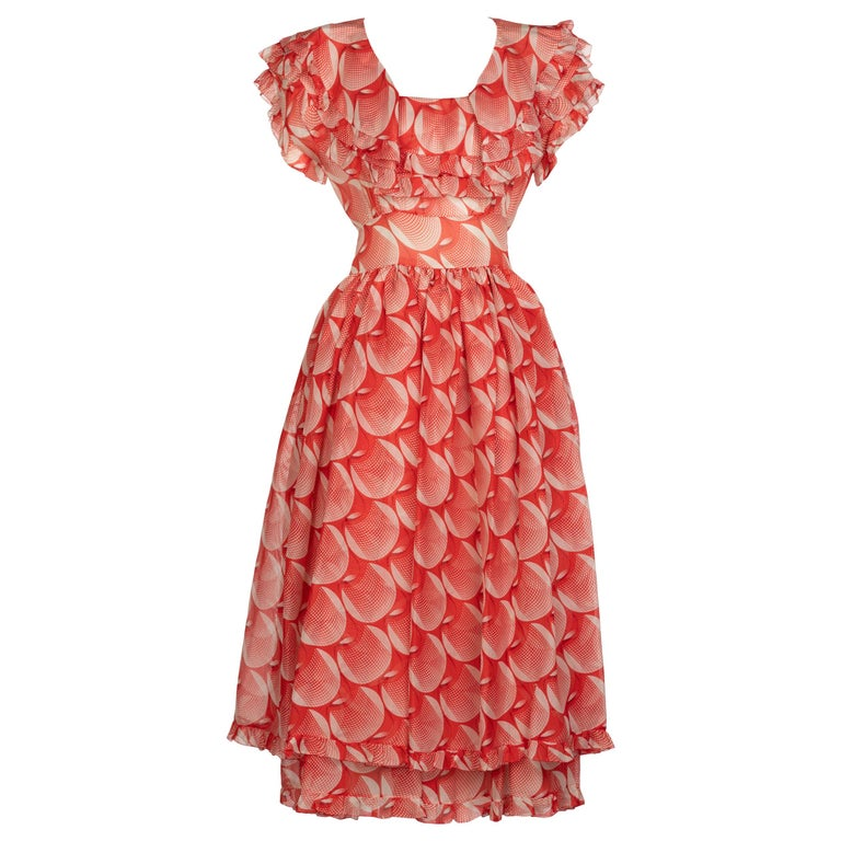 Chloe Karl Lagerfeld Red White Printed Silk Dress Runway 1982 For Sale