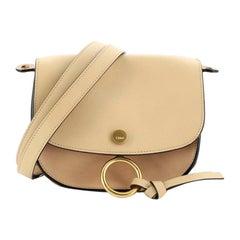 Chloe Kurtis Shoulder Bag Leather and Suede Mini
