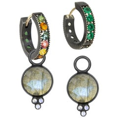 Chloe Labradorite Charms and Intricate Oxidized Reversible Huggies Earrings