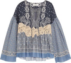 Chloé Lace Appliquéd Printed Cotton Voile Top