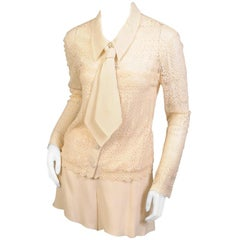 Chloe Lace Blouse, Necktie and Silk Georgette Shorts