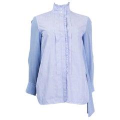 CHLOE lavender blue cotton RUCHED Button Up Shirt Blouse 36 XS