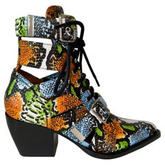 Chloe Leather Snake Print Rylee Boots (38.5 EU)