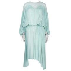 Chloe Light Blue Crinkled Chiffon Lace Detail Long Sleeve Maxi Dress S