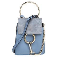 Chloe Light Blue Leather and Suede Mini Faye Crossbody Bag