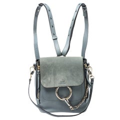 Chloe Light Blue Leather and Suede Small Faye Daye Backpack
