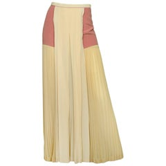 Chloe Light Peach Silk Pleated Maxi Skirt with Side Panels sz 34