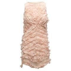 Chloe Light Pink Ruffled Silk Sleeveless Dress