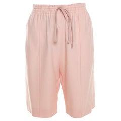 Chloe Light Powder Pink Crepe Elasticized Waist Tapered Bermuda Shorts M
