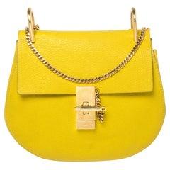 Chloe Lime Yellow Leather Medium Drew Shoulder Bag