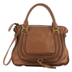 Chloe Marcie Braided Satchel Leather Large