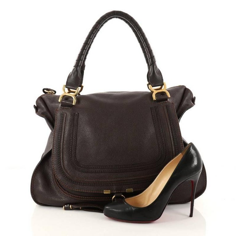 This Authentic Chloe Marcie Shoulder Bag Leather Large Showcases The Brand S Por Horseshoe Design In A