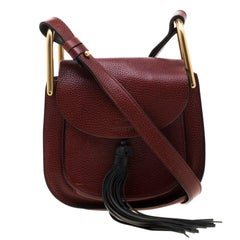 Chloe Maroon Leather Mini Hudson Shoulder Bag