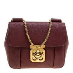 Chloe Maroon Leather Small Elsie Shoulder Bag