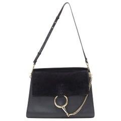CHLOE Medium Faye black suede flap gold loop chain hardware shoulder bag