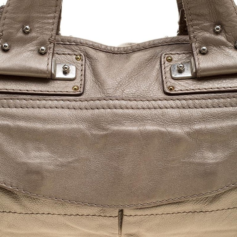 a563afdb7d Chloe Metallic Beige Leather Tote For Sale at 1stdibs