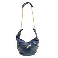 Chloe Metallic Blue Leather Milton Triple Chain Hobo