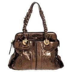 Chloe Metallic Bronze Leather Heloise Satchel