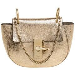 Chloe Metallic Gold Leather Mini Drew Shoulder Bag