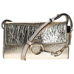 Chloe Metallic Gold Leather Mini Faye Crossbody Bag