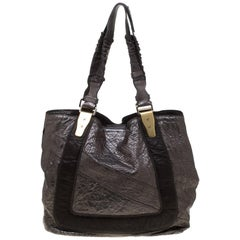 Chloe Metallic Grey Pebbled Leather Shopper Tote