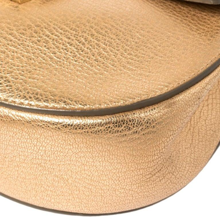 Chloe Metallic Rose Gold Leather Small Drew Shoulder Bag For Sale 6