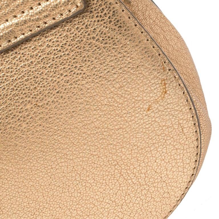 Chloe Metallic Rose Gold Leather Small Drew Shoulder Bag For Sale 8