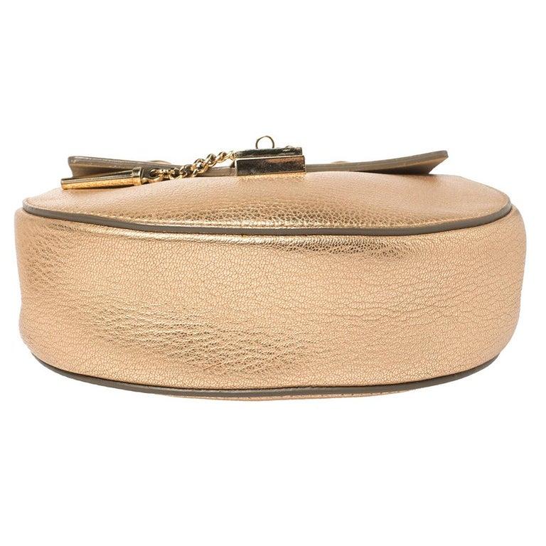 Chloe Metallic Rose Gold Leather Small Drew Shoulder Bag For Sale 1