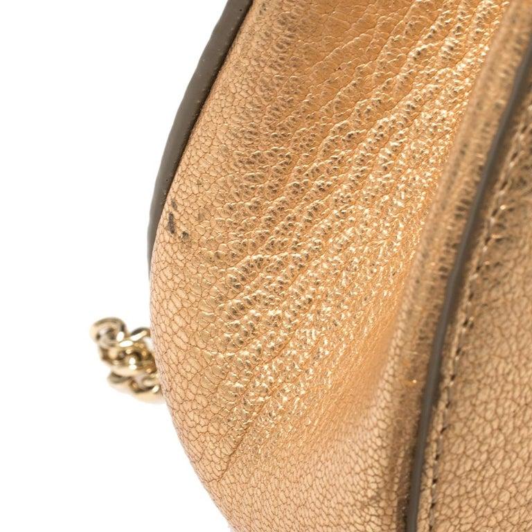 Chloe Metallic Rose Gold Leather Small Drew Shoulder Bag For Sale 3