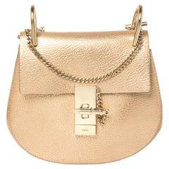Chloe Metallic Rose Gold Leather Small Drew Shoulder Bag