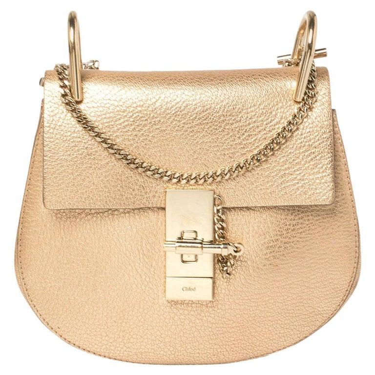 Chloe Metallic Rose Gold Leather Small Drew Shoulder Bag For Sale