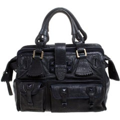 Chloe Midnight Blue Leather Front Pocket Tote