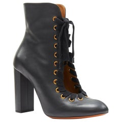 CHLOE Miles black leather gold grommet laced front szip chunky heel boots EU37.5