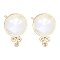 Chloe Moonstone 18 Karat Gold Stud Earrings