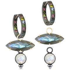 Chloe Moonstone Charms and Intricate Oxidized Hoop Earrings