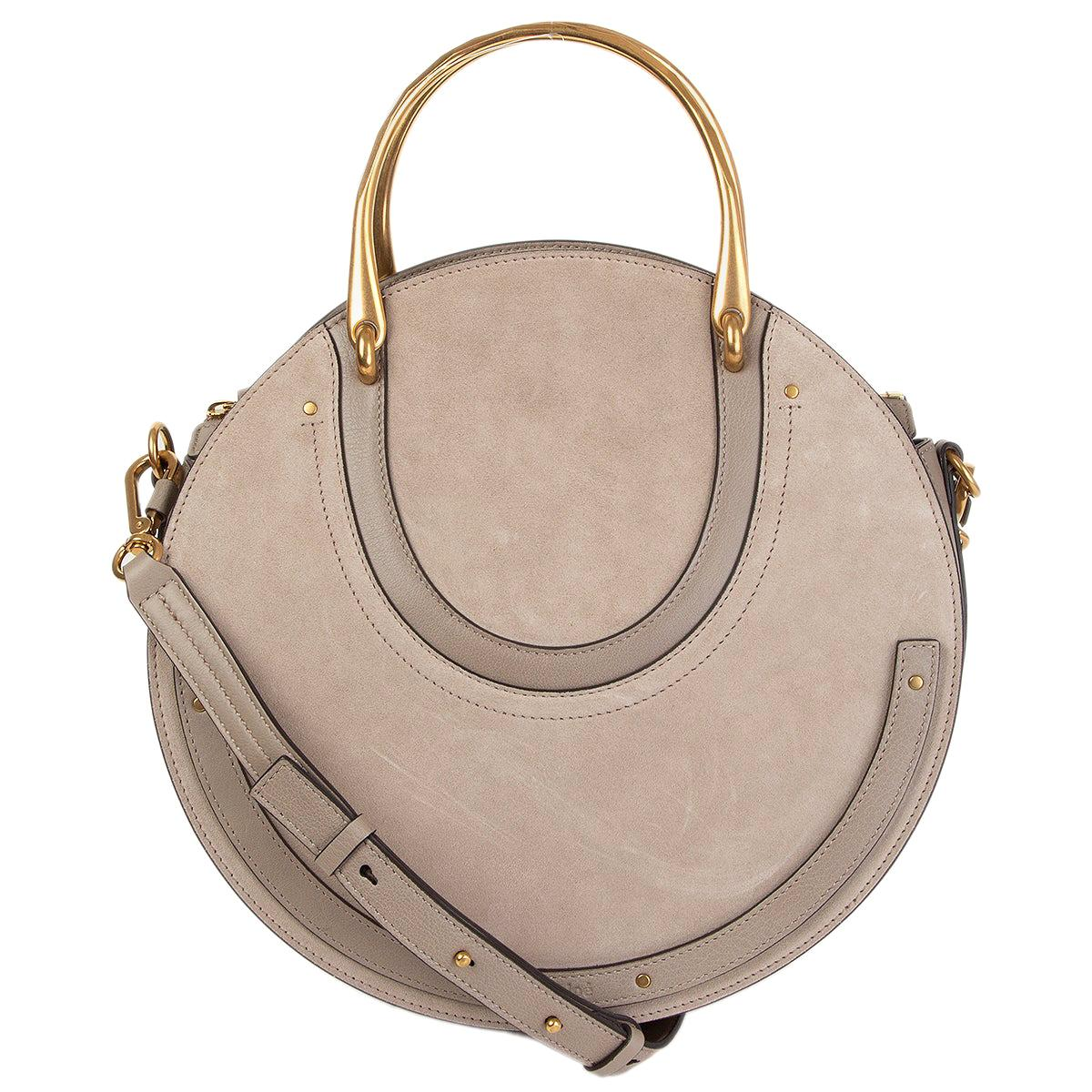 CHLOE Motty grey suede PIXIE MEDIUM DOUBLE HANDLE Bag