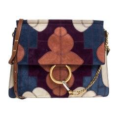 Chloe Multicolor Patchwork Suede and Leather Medium Faye Shoulder Bag