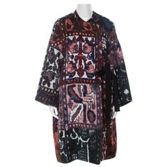 Chloe Multicolor Woven Tapestry Jacquard Waist Tie Detail Mid Length Coat S