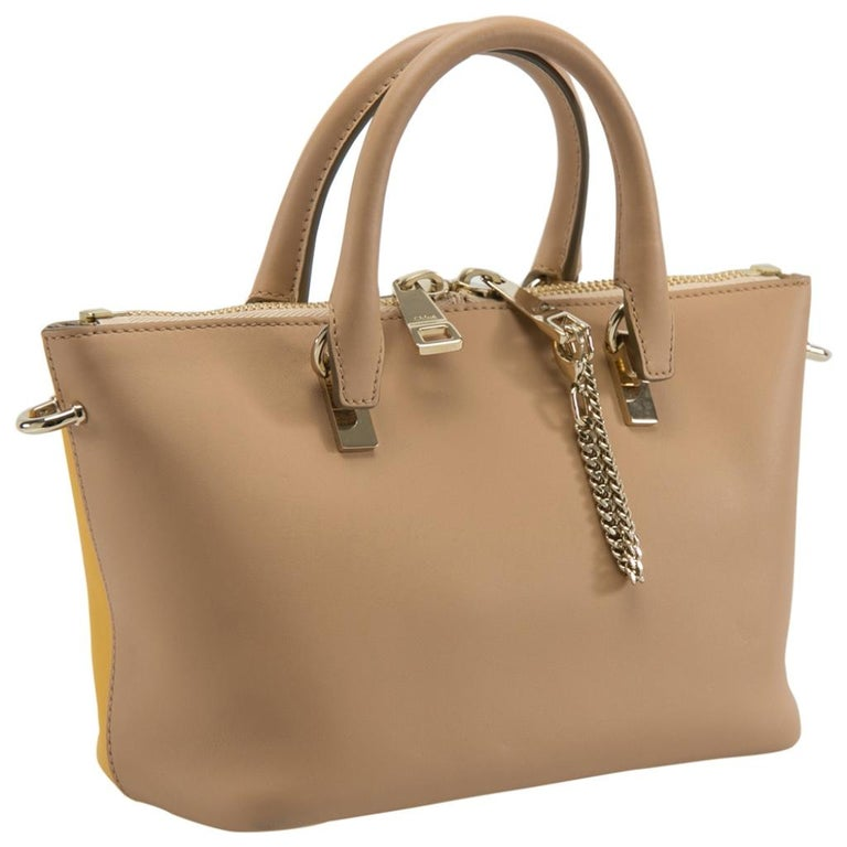 Brown Chloe Mustard/Beige Leather Small Baylee Tote For Sale