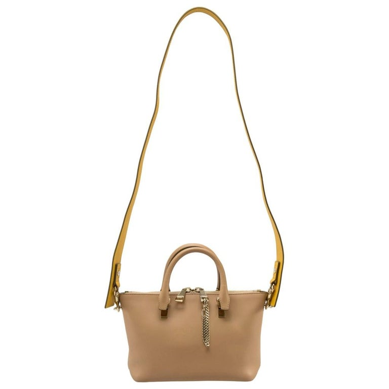 Women's Chloe Mustard/Beige Leather Small Baylee Tote For Sale