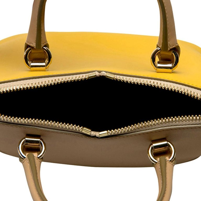 Chloe Mustard/Beige Leather Small Baylee Tote For Sale 1