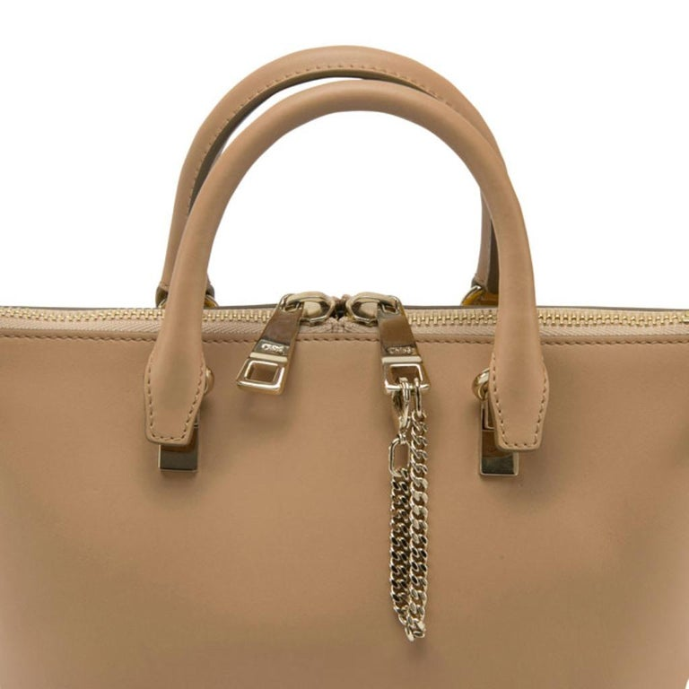 Chloe Mustard/Beige Leather Small Baylee Tote For Sale 2
