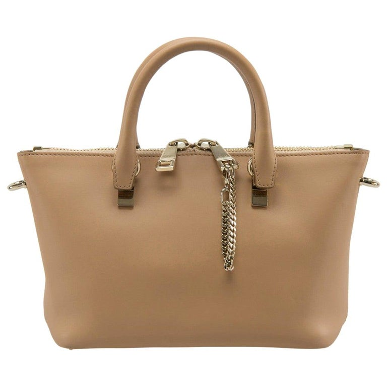 Chloe Mustard/Beige Leather Small Baylee Tote For Sale